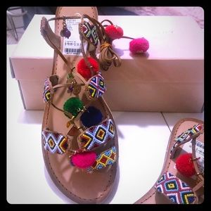 Chinese Laundry Posh Leather Ankle Tie Sandals